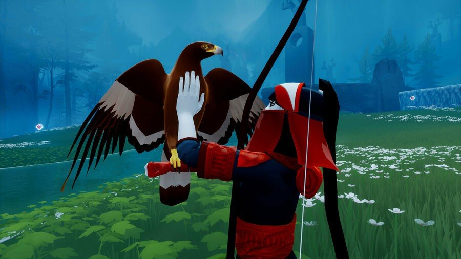 Screenshot of the huntress from The Pathless cleaning her eagle